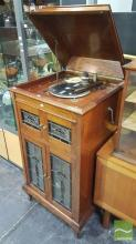Vintage Gramophone in Timber Case w Leadlight Panel Doors Raised on Cabriole Legs