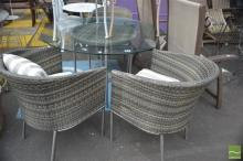 Modern Wicker Four Piece Outdoor Setting incl. Glass Top Table & Three Tub Chairs