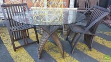 Three Piece Timber Outdoor Setting incl. Round Glass Top Table & Pair of Chairs