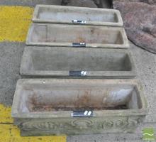 Set of Four Sandstone Trough Planters