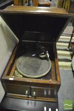 Timber Cased Gramaphone (winder & pins in office)