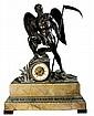 Richard & Cie 19th Century Bronze & Sienna French Mantle Clock