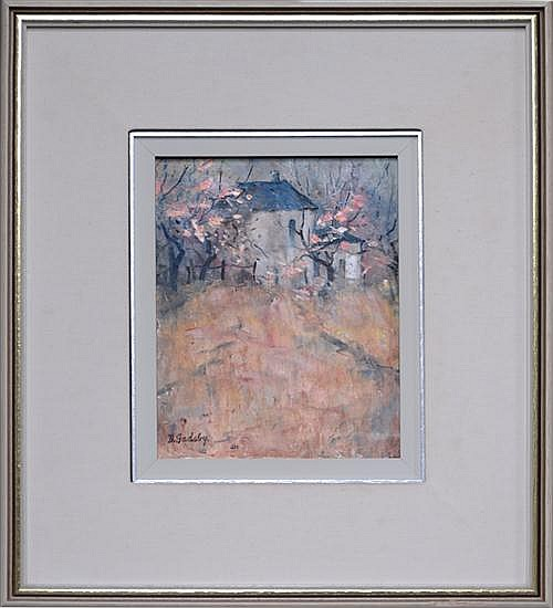Doreen Gadsby (1926 -), Early Blossom Bowral, oil on canvas board, 25 x 19cm, signed lower left