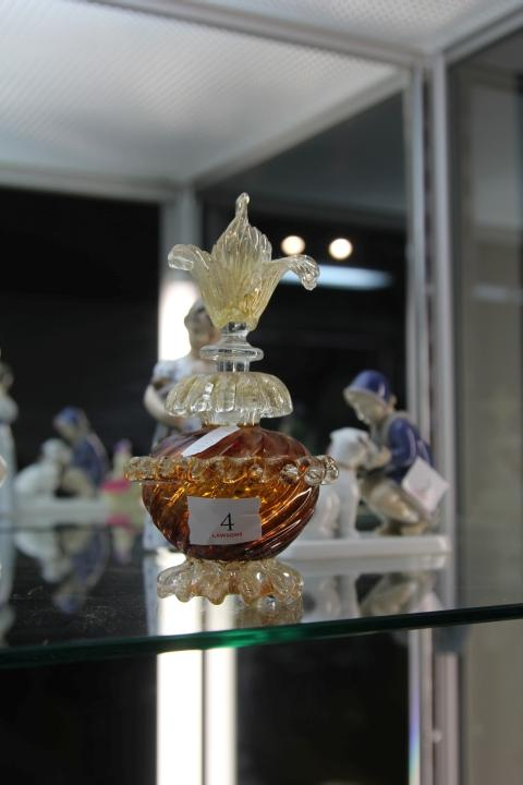 Murano Aventurine & Orange Glass Perfume Bottle