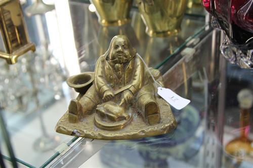 Victorian Brass Figural Daniel Lambert Form Ink Stand