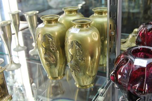 Japanese Pair of Bronze Vases