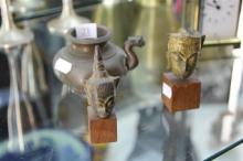 Bronze Water Dropper & 2 Buddha Heads