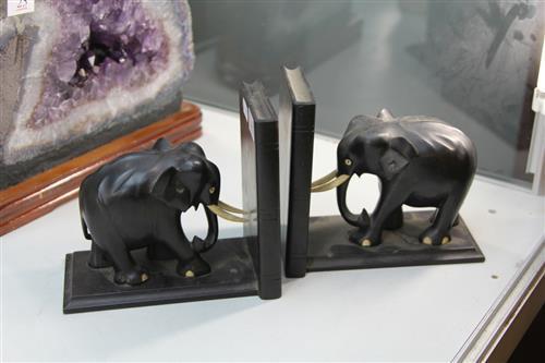 Ebony & Ivory Elephantine Bookends