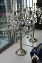 Silver Plated Drop Crystal Eight Branch Candelabra (one bobeche missing)