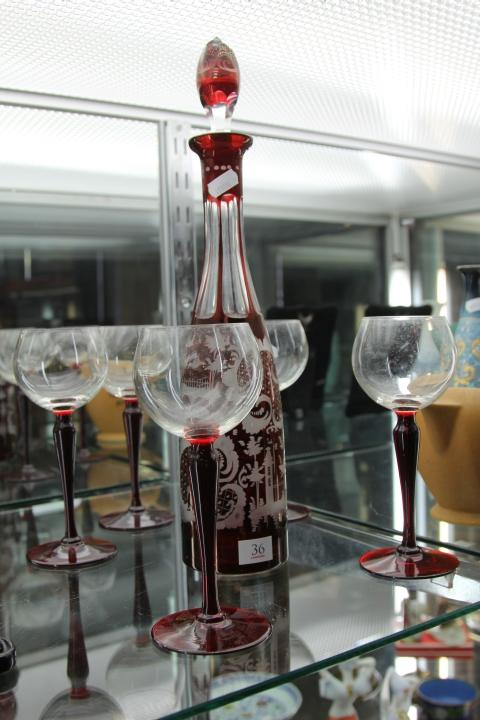 Etched Ruby Glass Decanter with Red Stem Wine Glasses