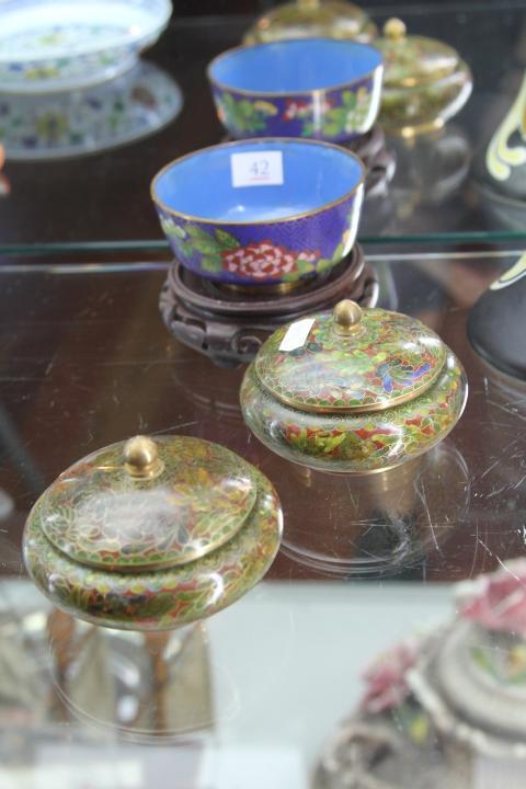 Cloisonne Bowl & Two Cloisonne Pots on Stands
