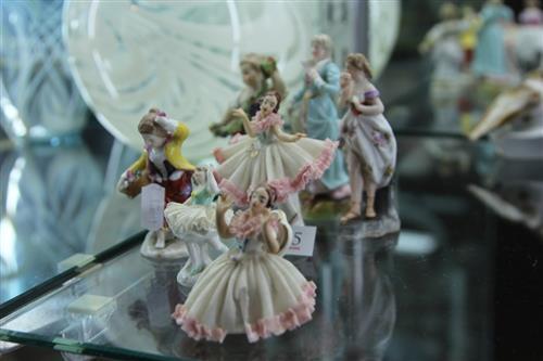 Meissen 19th Century Figurine (arm restored) with Various German Figures incl. Crinoline