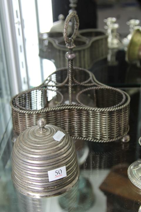 Elkington Silver Plate 3 Bottle Tantalus & a Silver Plated Lidded Honey Pot