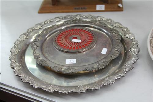 English Hallmarked Sterling Silver Coast with Two Silver Plated Trays