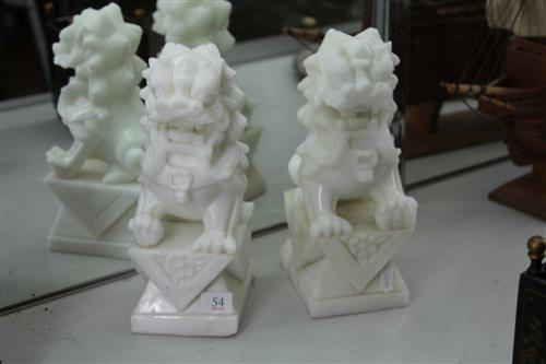 White Stone Pair of Foo Lions