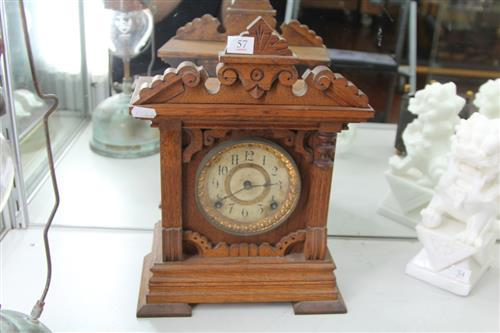 Ansonia Timber Mantle Clock (key, pendulum & corbel in office)
