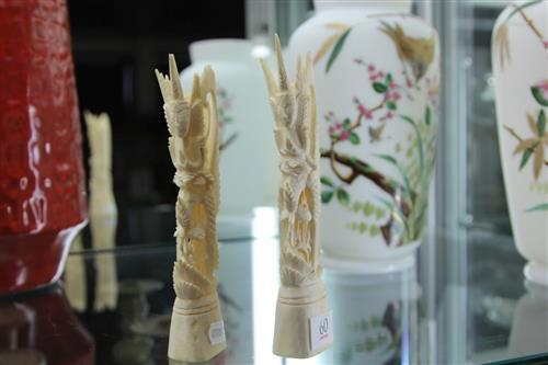 Pair of Oriental Bone Carvings