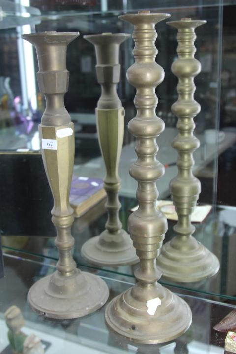 Brass Turned Lamp Base with Another Example