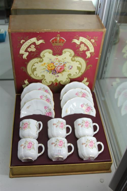 Royal Crown Derby Boxed Coffee Setting for 6