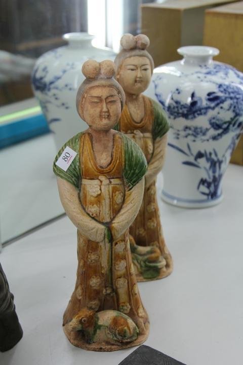 Terracotta Glazed Pair of Lady Figures