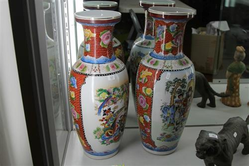 Chinese Pair of Polychrome Vases