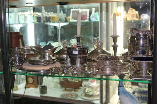 Silver Plated Set of Three Tureens with Other Plated Wares incl. a Pair of Candlesticks
