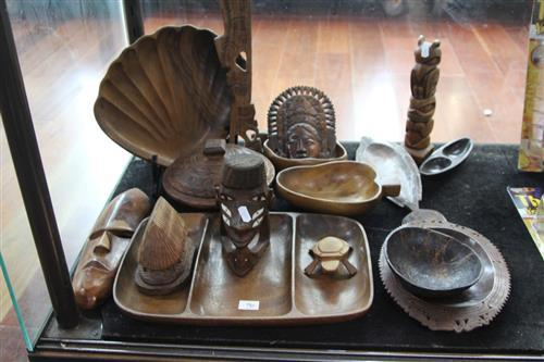 Timber Shell Form Tray with Other Timber Wares incl. Tribal Figures
