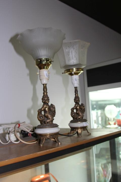 Pair of Cherubic Bedside Lamps