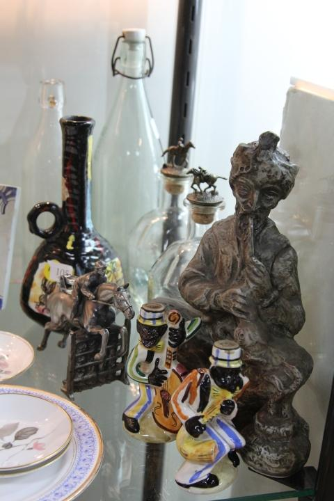 An Equestrian Themed Table Lighter with Drink Wares including Decanters