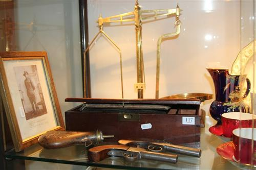 Percussion Pistols (possibly original) with Other Vintage Wares incl. Scales