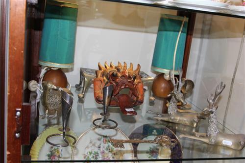 Metal Pair of Reindeer with Other Metal Wares incl. Pheasant