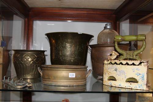 Copper Champagne Bucket with Other Metal Wares incl. Jardiniere