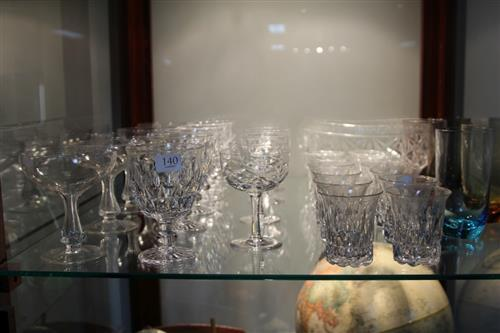 Hexagonally Cut Hollow Stem Glasses (5) with Other Crystal incl. Tudor