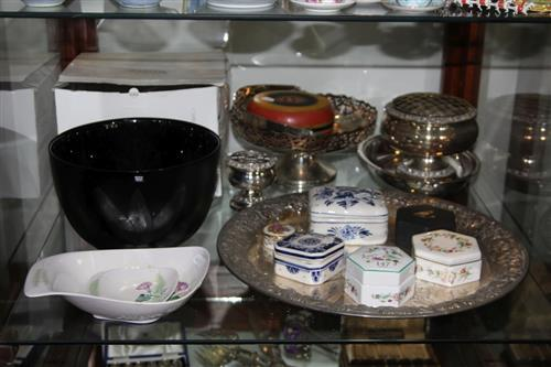 Kosta Boda Bowl with Other Wares incl. Silver Plate & Carlton Ware