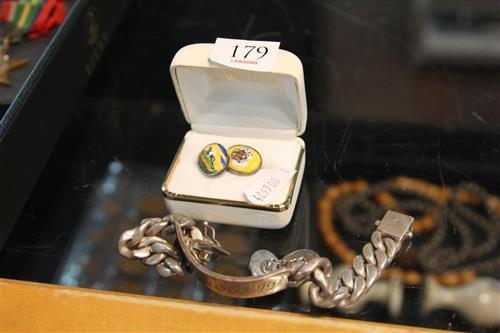 Sterling Silver Cufflinks & Bracelet