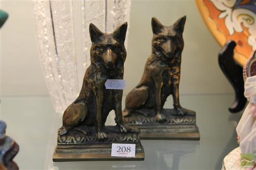 Brass Pair of German Shepherd Bookends