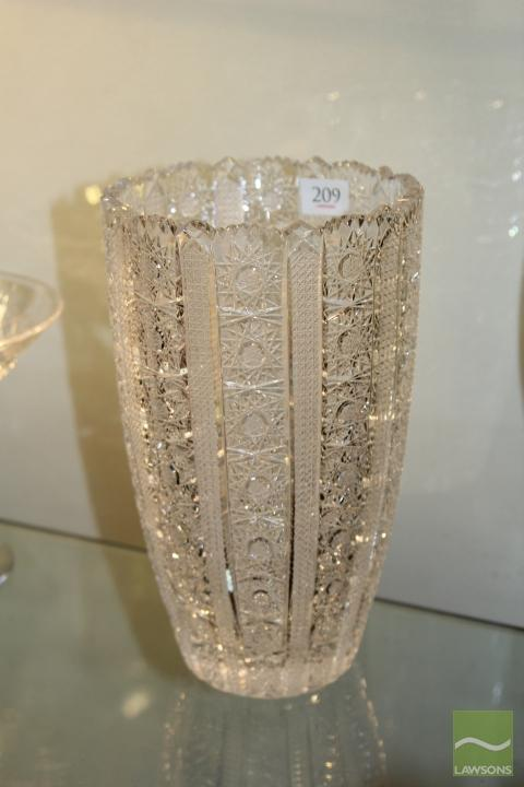 Bohemian Heavy Cut Crystal Vase