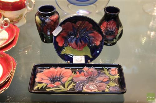 Moorcroft Rectangular Dish with Three Other Moorcroft Pieces