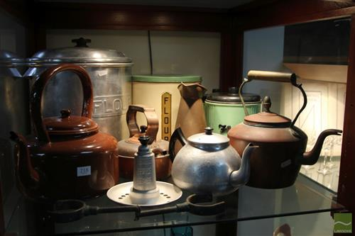 Copper Kettle with Other Kitchen Wares incl. Enamel Tins