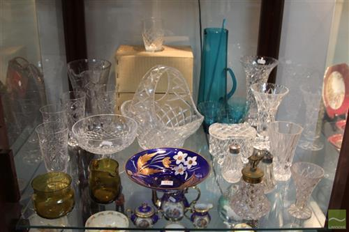Waterford Crystal Footed Bowl with Other Crystal & Glass incl. Stuart Salt & Peppers