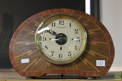 Bulle Clock Art Deco Inlaid Mantle Clock