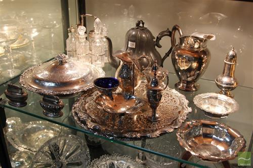 Silver Plated & Crystal Cruet Set With Other Plated Wares incl Sugar Caster