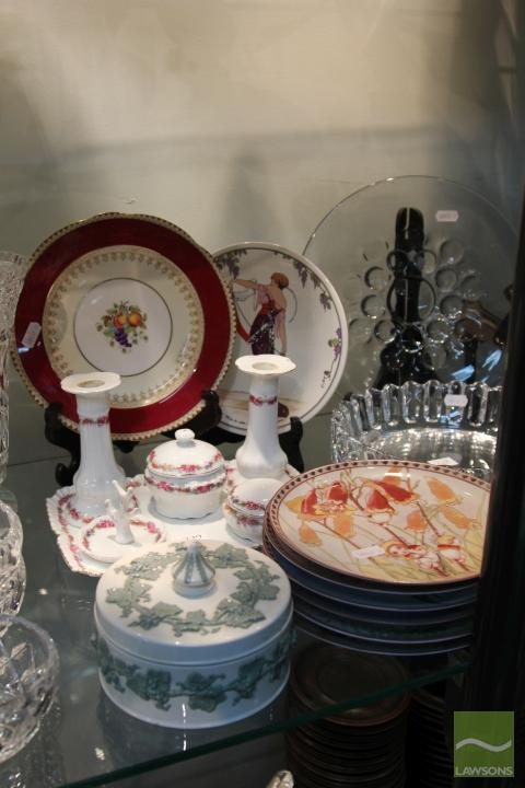 Czech Dressing Table with Other Ceramics incl. Wedgwood Queens Ware Lidded Container