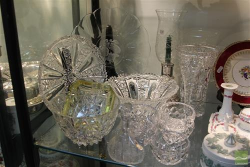 Heavy Cut Crystal Tray with Other Crystal incl. Jug