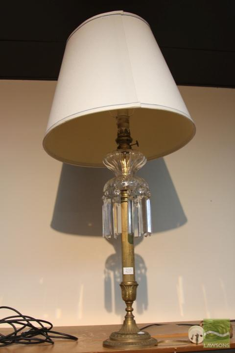 Converted Kerosene Lamp with Crystal Drops