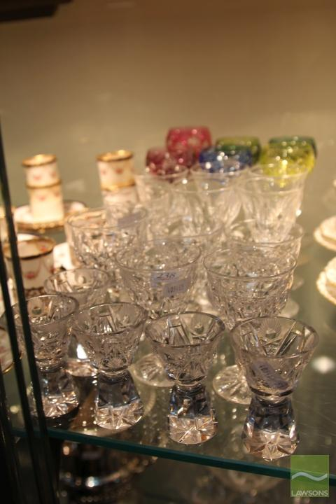 Bohemian Glass Drink Wares with Other Crystal incl. Tudor