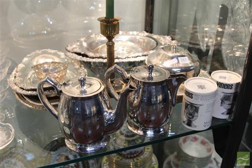 Silver Plated Muffineer with Other Plated Wares incl. Trays