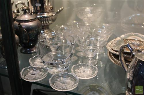 Stuart Crystal Comport with Matching Glasses & Other Crystal incl. Val st. Lambert Pin Dishes