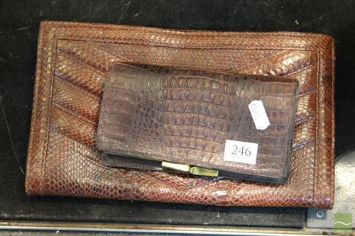 Vintage Cobra Skin Clutch Bag And Crocodile Purse; bag with suede interior (27), purse with some tears (16cm).
