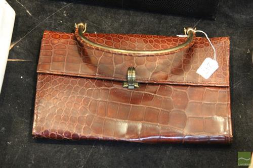 Vintage Crocodile Handbag, with watermark taffeta interior, 27cm.